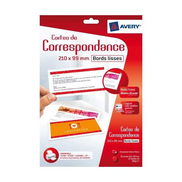 photo Avery 36 Cartes de correspondance mates bords lisses Quick&Clean - Recto/Verso - 260g - 210 x 99mm - C2358-12