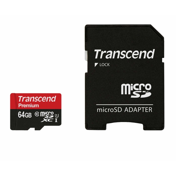 photo Transcend microSDXC Premium 64 Go UHS-I (90MB/s) + adaptateur SD