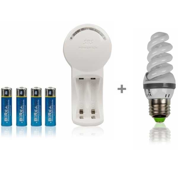 photo SBS Living Technology Chargeur universel + 4 piles AA rechargeables 1900mAh + 1 ampoule offerte