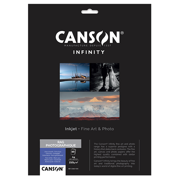 photo Canson Infinity Rag photographique 210g/m² A4 10 feuilles - 206211025