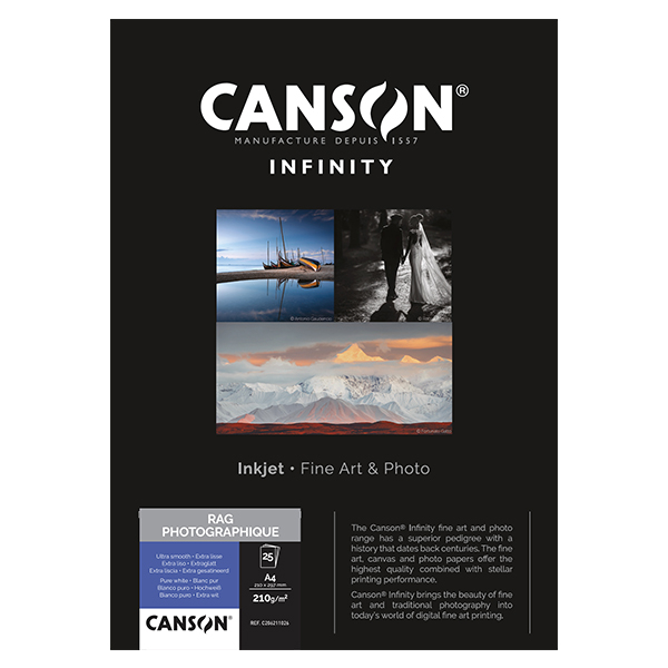 photo Canson Infinity Rag photographique 210g/m² A4 25 feuilles - 206211026