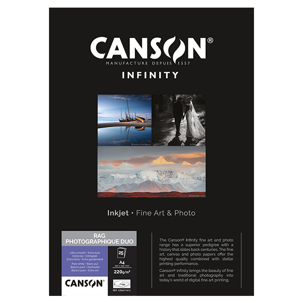 photo Canson Infinity Rag photographique Duo 220g/m² A4 25 feuilles - 206211016