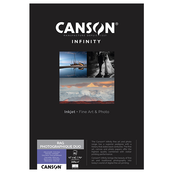 photo Canson Infinity Rag photographique Duo 220g/m² A3+ 25 feuilles - 206211018