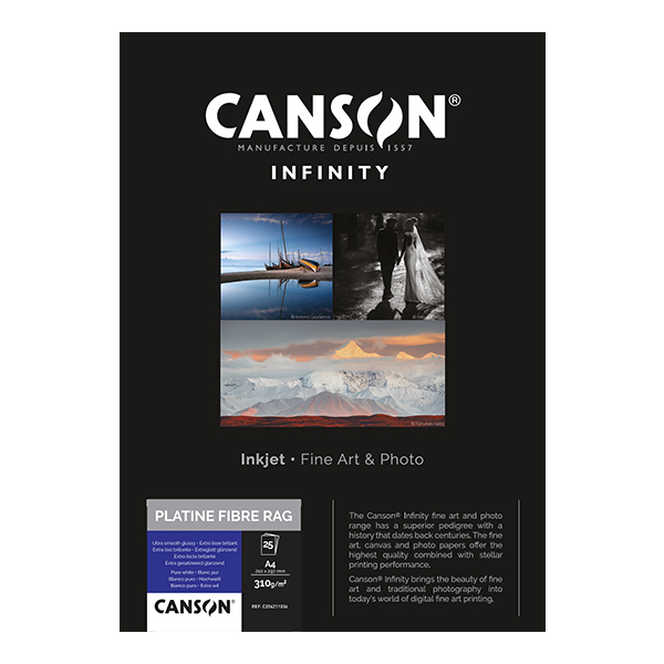 photo Canson Infinity Platine Fibre Rag 310g/m² A4 25 feuilles - 206211036