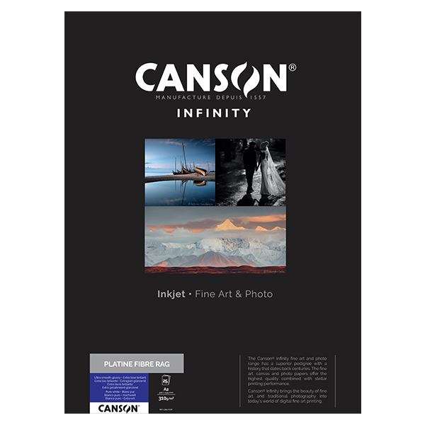 photo Canson Infinity Platine Fibre Rag 310g/m² A2 25 feuilles - 206211039