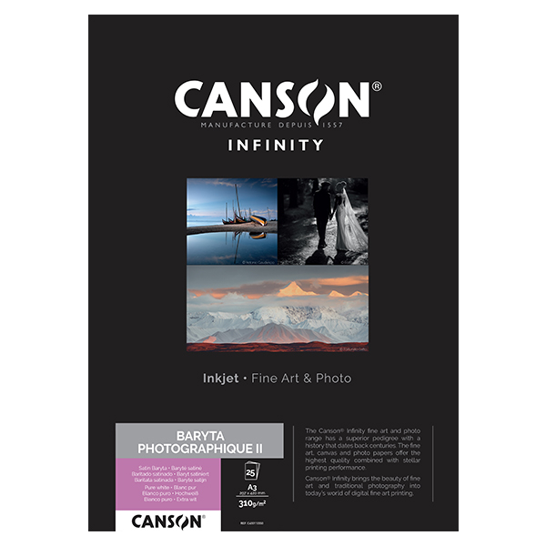 photo Canson Infinity Baryta Photographique II 310g/m² A3 25 feuilles - 400110550