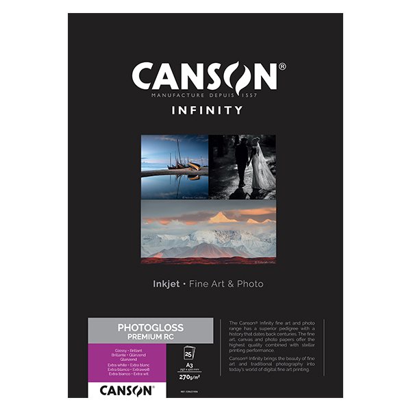 photo Canson Infinity Photo Gloss Premium RC 270gm² A3 25 feuilles - 206231004