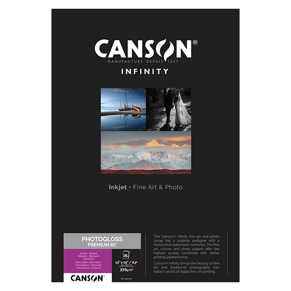 photo Canson Infinity Photo Gloss Premium RC 270gm² A3+ 25 feuilles - 206231005