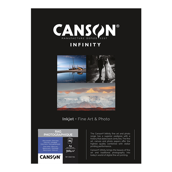 photo Canson Infinity Rag photographique 310g/m² A4 10 feuilles - 206211045