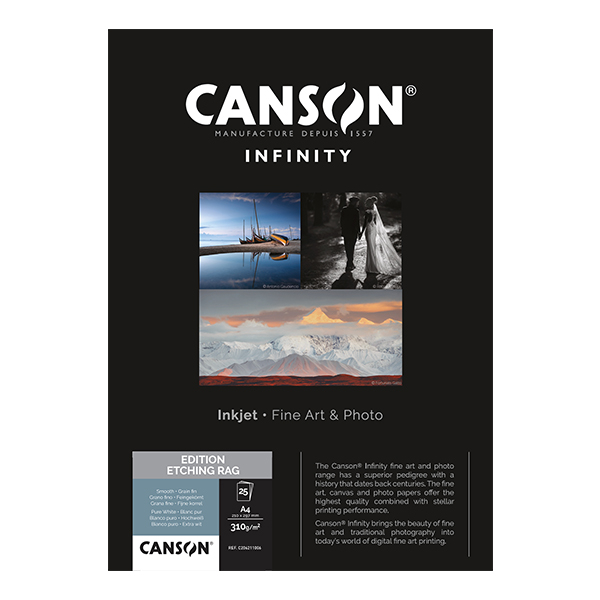 photo Canson Infinity Etching Rag 310g/m² A4 25 feuilles - 206211006