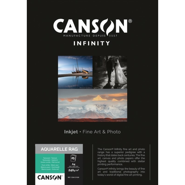 photo Canson Infinity Aquarelle Rag 240g/m² A3 25 feuilles - 206121029
