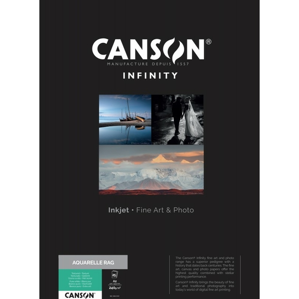 photo Canson Infinity Aquarelle Rag 240g/m² A2 25 feuilles - 206121031