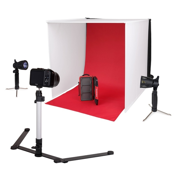 photo Caruba Mini studio portable 50cm + 2 lampes + 1 pied + 4 fonds
