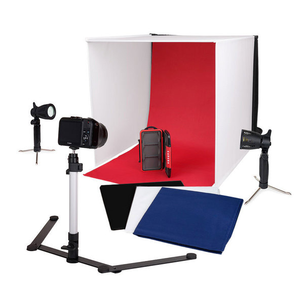 photo Caruba Mini studio portable 60cm + 2 lampes LED + 1 pied + 5 fonds